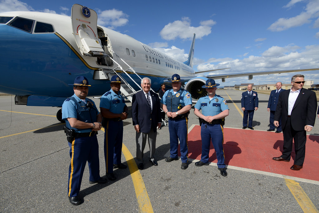 Secrertary Tillerson Poses for a Photo With Alaska State Troopers at Eielson Air Force Base |