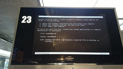 Train station timetable screen computer crash | by hugovk
