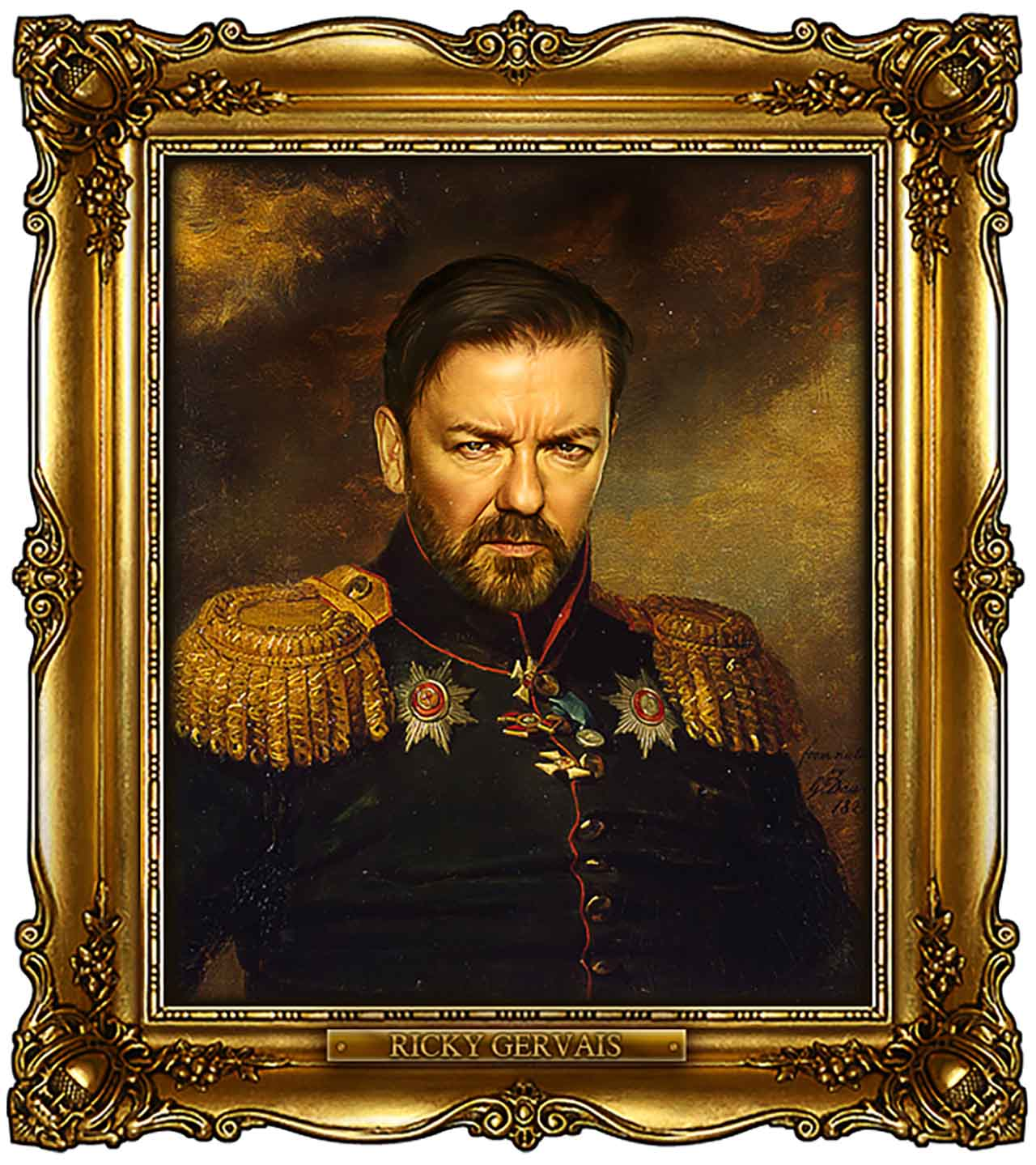 Artist Turns Famous Actors Into Russian Generals - Ricky Gervais