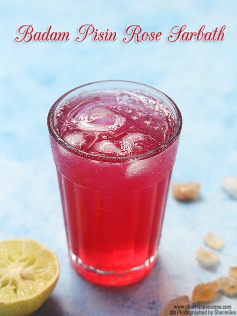 Badam pisin nannari rose sarbath recipe