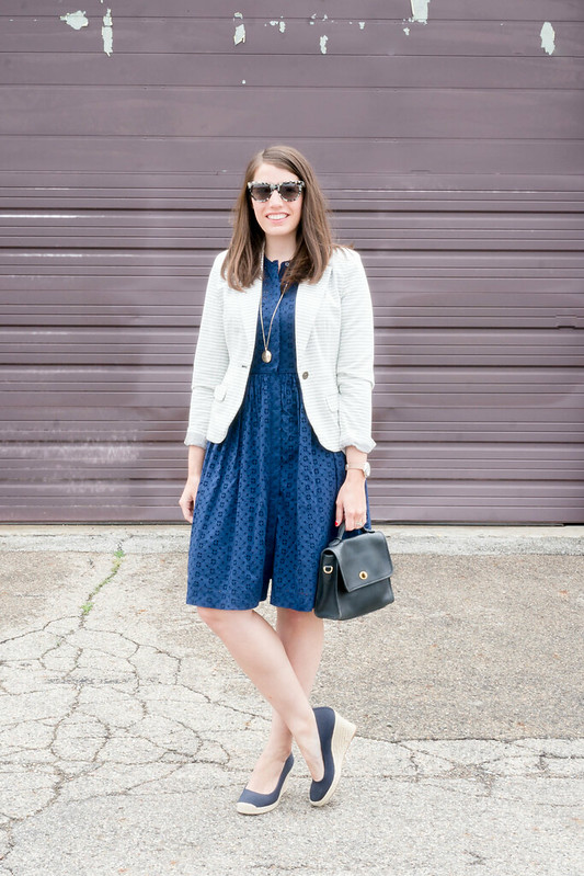 j.crew navy eyelet dress + gold circle necklace + target stripe blazer + navy espadrilles | Style On Target blog