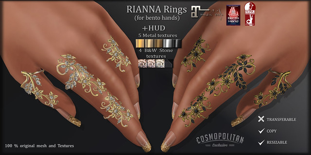 RIANNA Rings (for VISTA, MAITREYA & SLINK bento hands )