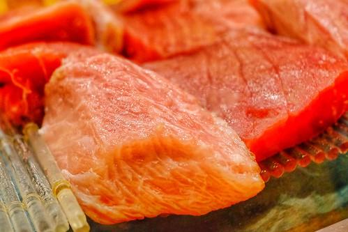"""raw fish """"sashimi"""" show case"""