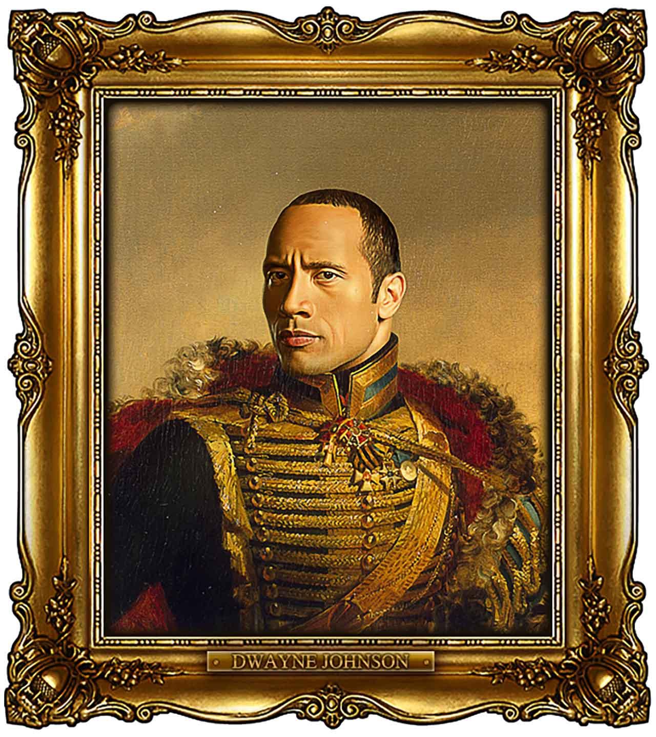 Artist Turns Famous Actors Into Russian Generals - Dwayne Johnson