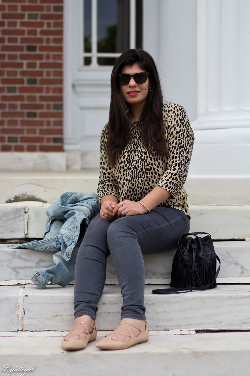 leopard blouse, grey jeans, denim jacket, fringe bag-5.jpg