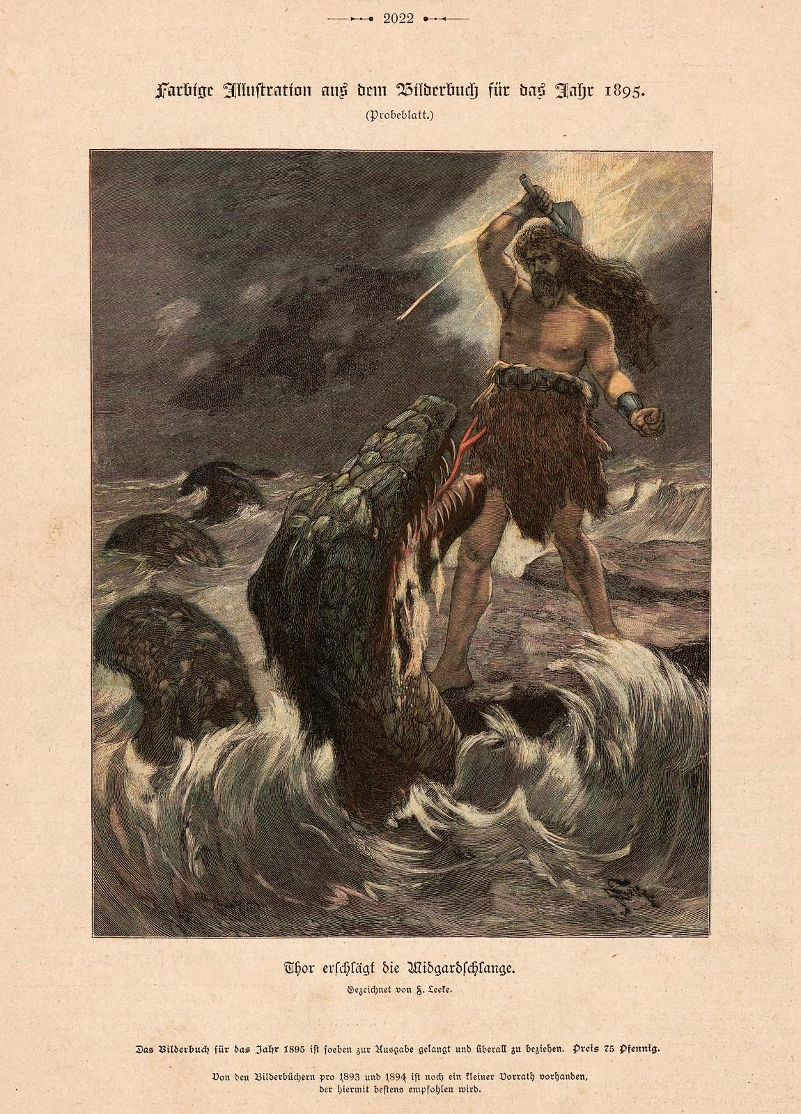 Ferdinand Leeke - Thor Slaps The Midgard Snake, 1895