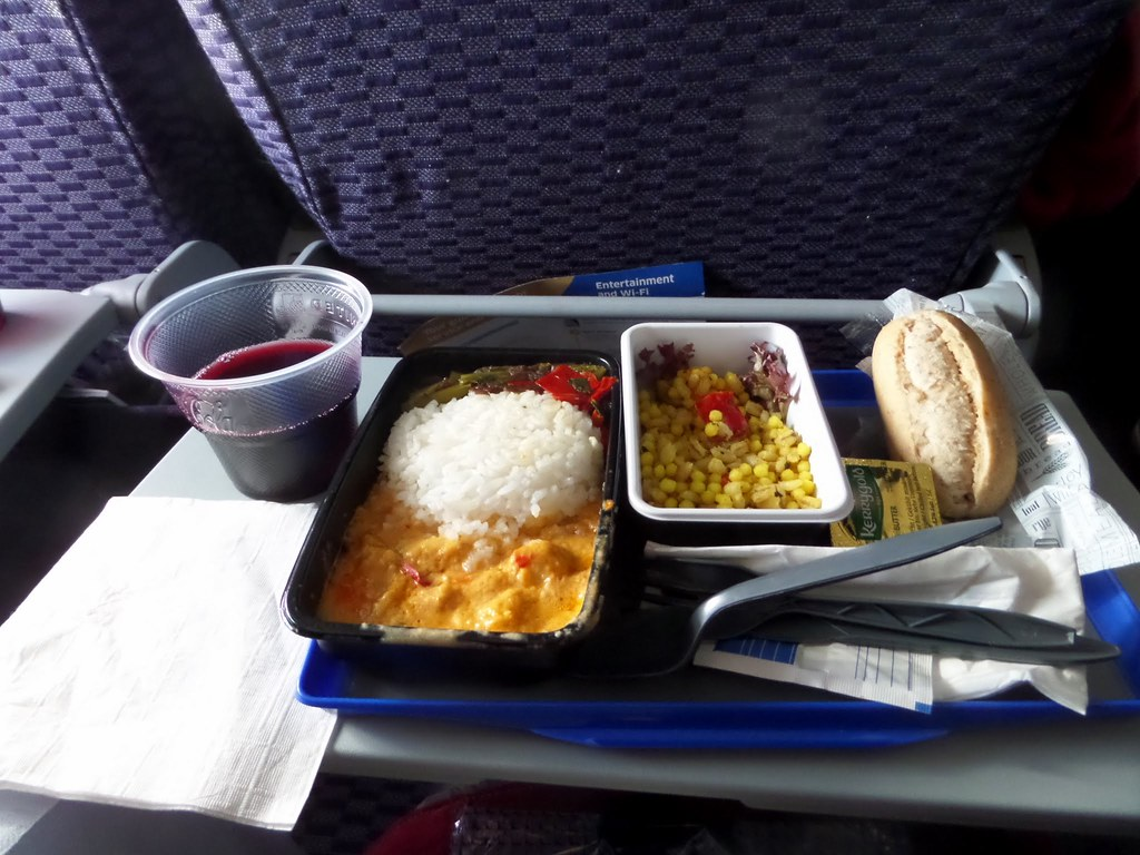 Lunch on United Airlines flight Heathrow to New York