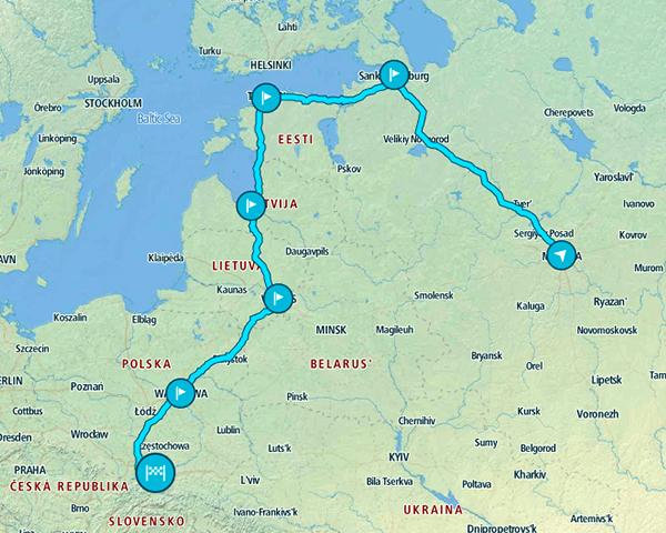 Mapa e itinerario por Europa del Este y sus principales capitales