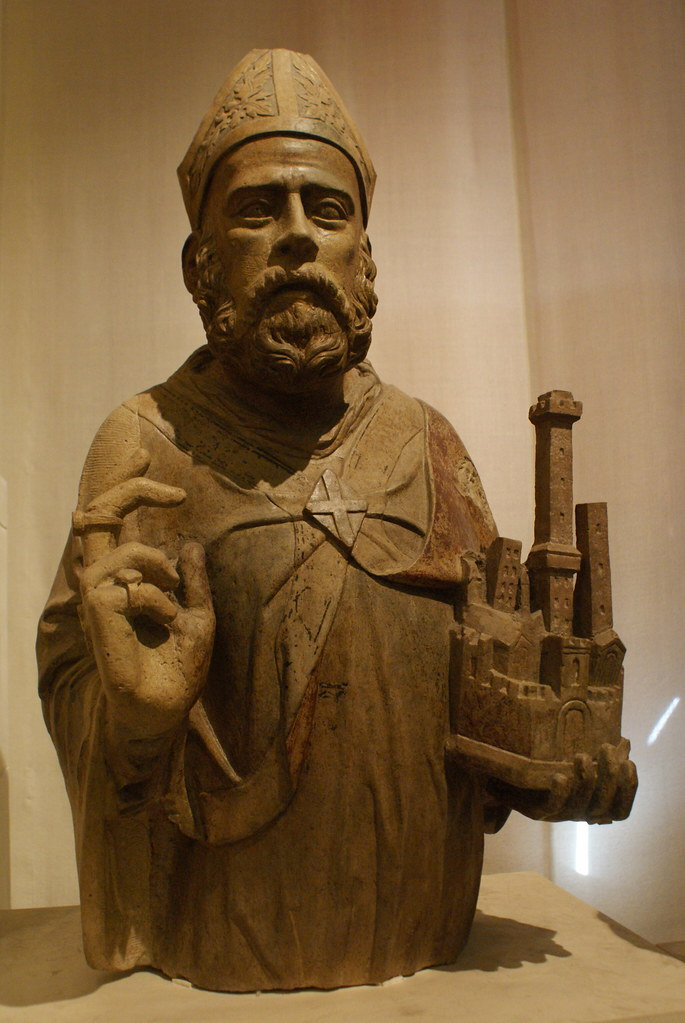 Sculpture de San Petronio au musée médiéval de Bologne.