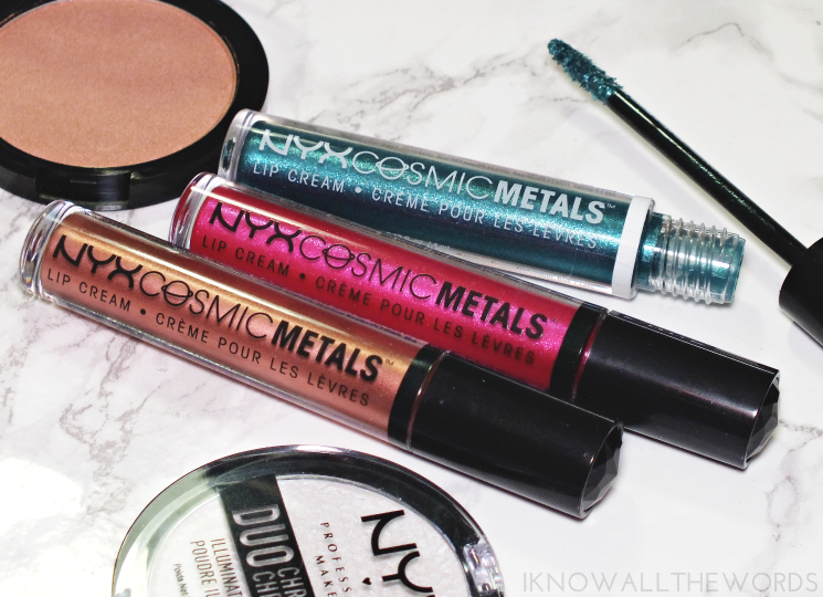 nyx cosmic metals lip cream speed of light, fuchsia fusion, electromagnetic  (1)