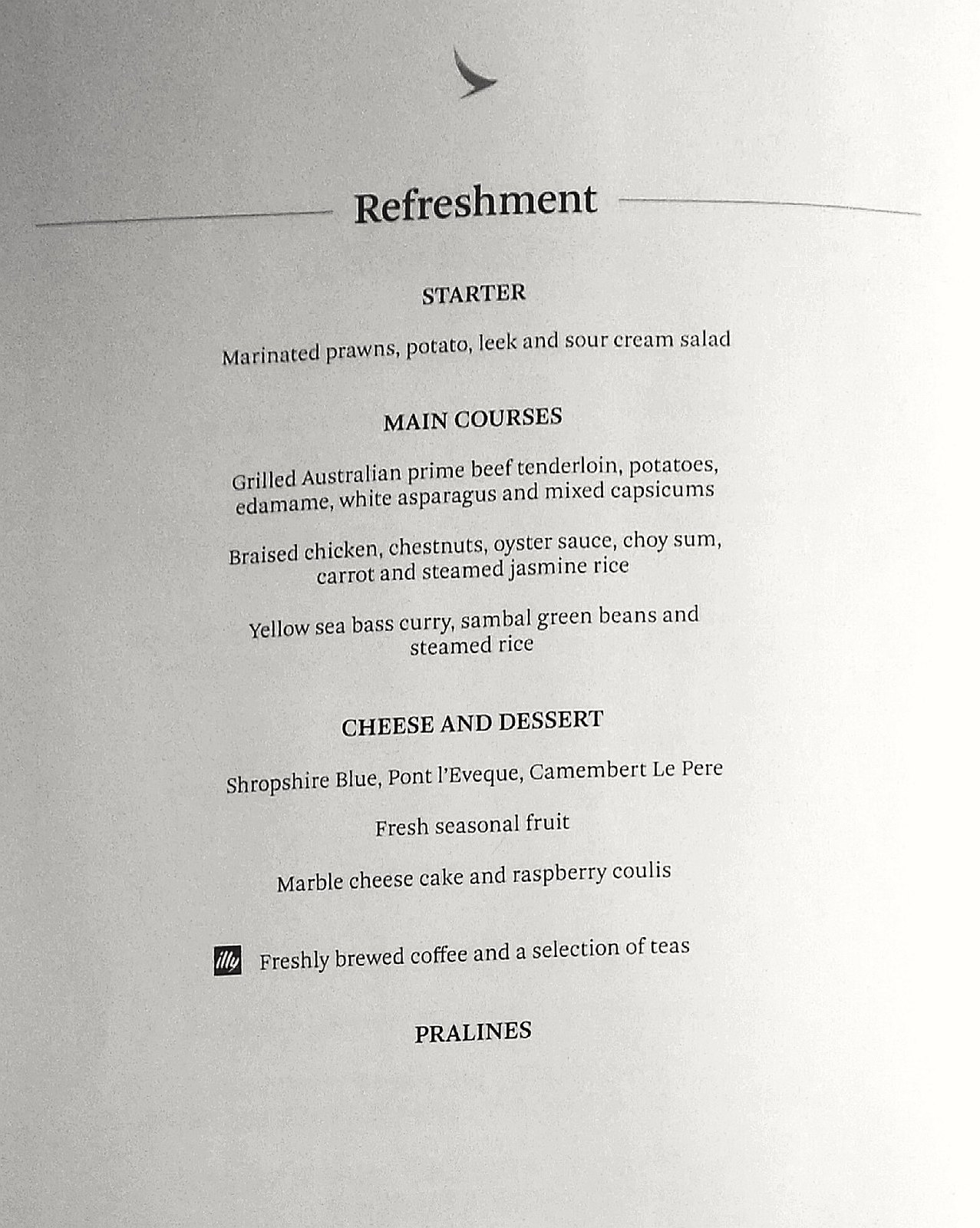 Refreshment menu