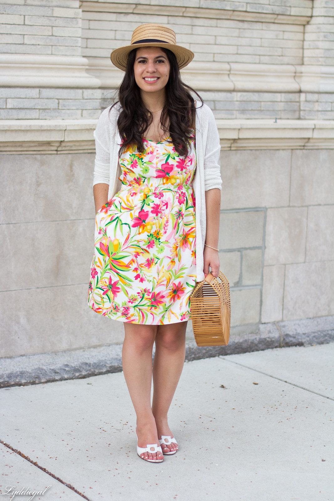 floral dress, white cardigan, straw hat, bamboo bag-5.jpg
