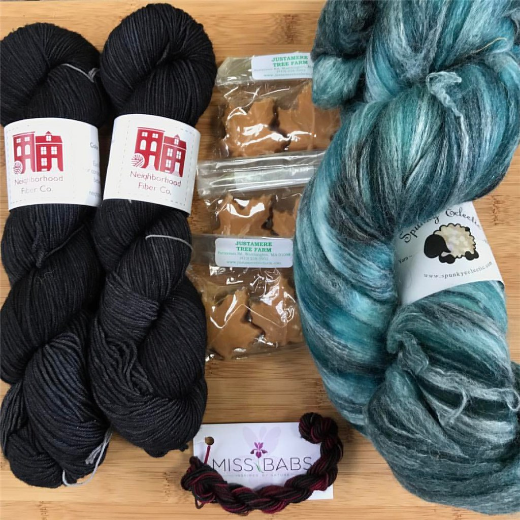 My #mdsw2017 haul: 2 skeins of @neighborhoodfiberco Studio Sock in Upton (to make a shawl using a rainbow yarn I got at #mdsw last year) Maple Sugar Candy from Justamere Tree Farm (hands down my favorite candy), fiber from @amyboogie/Spunky Eclectic (I'm