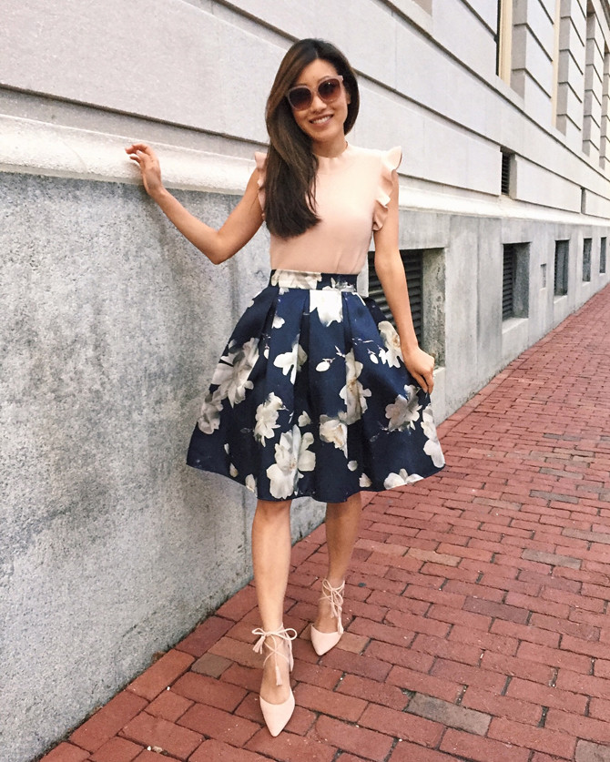 full floral skirt elegant outfit ideas petite style blog