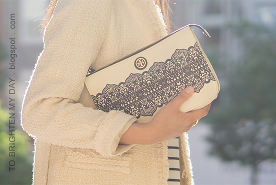 white tweed jacket, striped dress, lace printed clutch