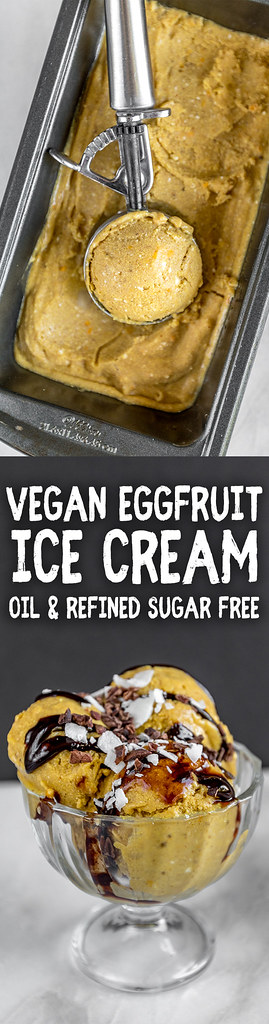 Vegan Eggfruit Ice Cream {oil + refined sugar-free} sweetsimplevegan.com #eggfruit #icecream #exotic #vegan #oilfree #glutenfree #coconut #icecream #veganicecream #miamifruit