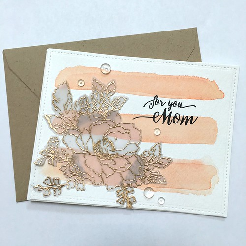 Watercolor stripes Mother's Day card