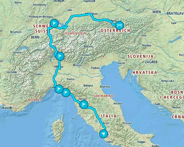 Mapa de la ruta que seguimos de 10 días por lugares de Europa desconocidos