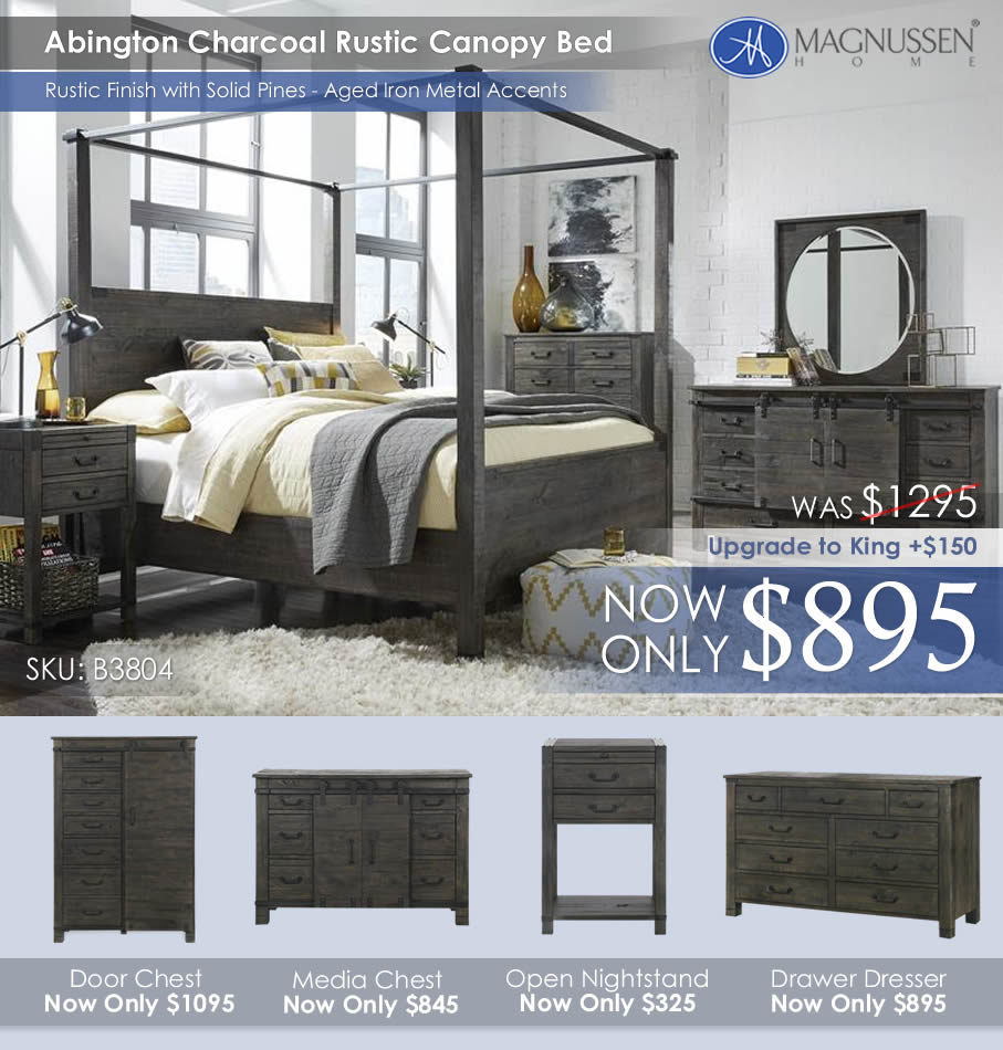 Abington Charcoal Rustic Canopy Bed B3804