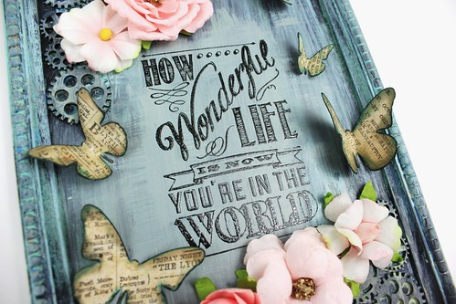Meihsia Liu Simply Paper Crafts Mixed Media Frame Simon Says Stamp Monday Challenge Tim Holtz Prima Flowers 4