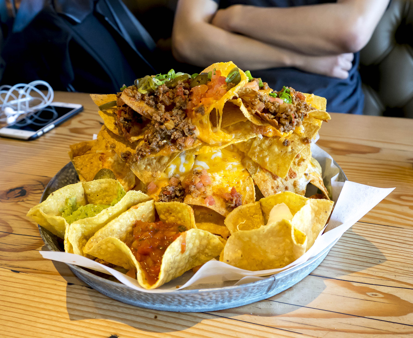 Double Cheese Nachos with Spicy Beef and Guacamole