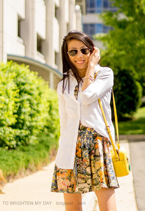 white button up dress shirt, yellow camera bag, floral cuff, wildflower printed dress