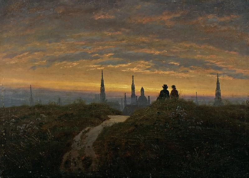Carl Gustav Carus - Blick auf Dresden bei Sonnenuntergang, c.1822