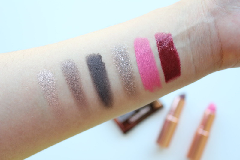 Charlotte Tilbury The Rock Chick Luxury Palette, Hot Lips in Bosworth's Beauty, and KISSING Lipstick in Night Crimson review and swatches