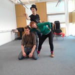 In rehearsal - the cast of Rise of the Shadow Stealers