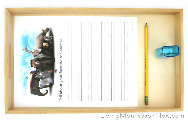 Zoo Animal Creative Writing Tray