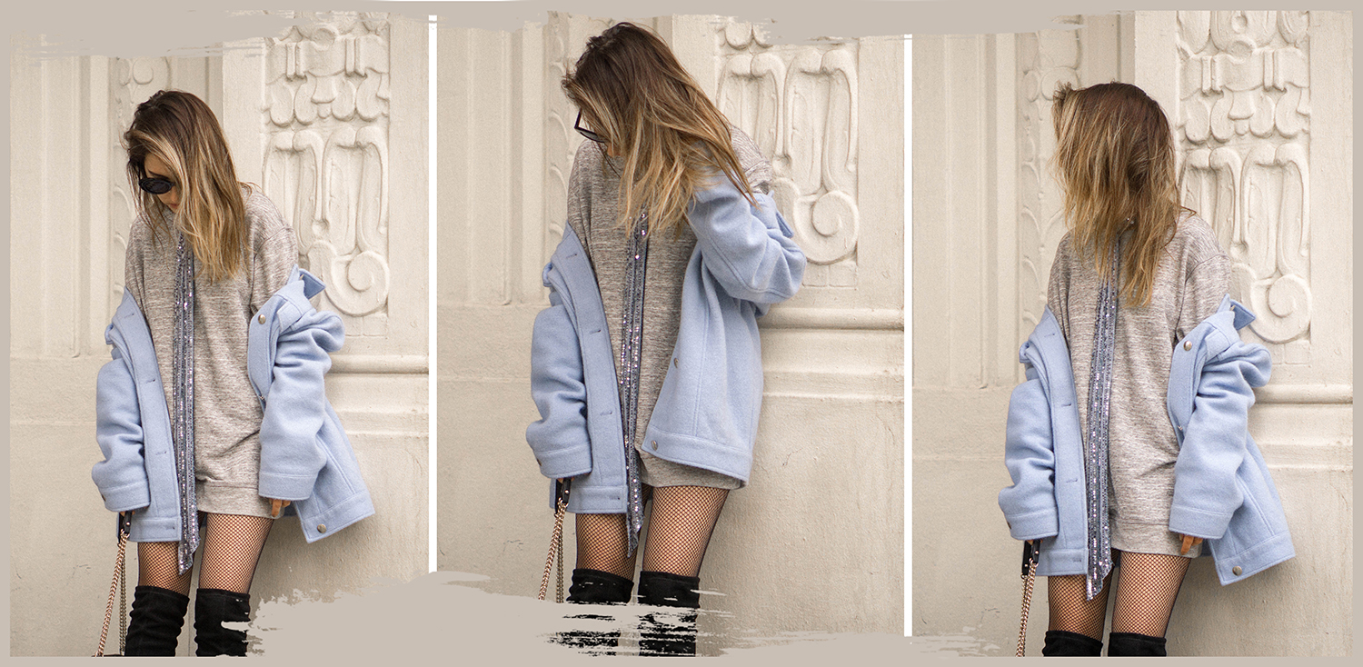 oversized jacket with over the knees