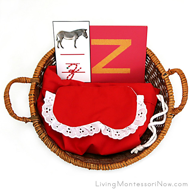 Letter Z Object Basket with Mystery Bag and Blindfold