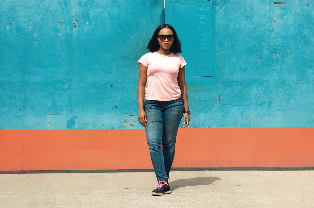 how to style sneakers, Lagos city chic, Girls wearing sneakers, pink sneakers, sneakers trend 2017, autumn 2017, How to style double denim, champion sneakers, Lagos fashion blogger,