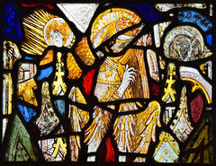 fragments including Christ child on St Christopher's shoulder and angel playing a harp (15th Century)