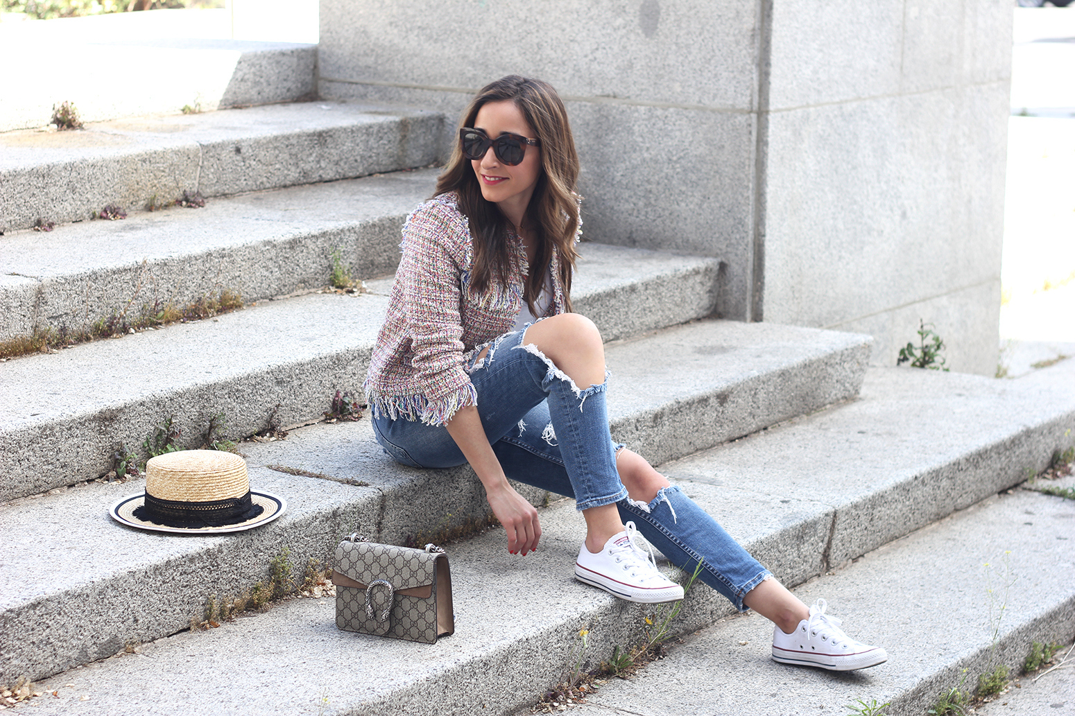 Tweed Jacket ripped jeans converse sneakers gucci bag spring outfit style01