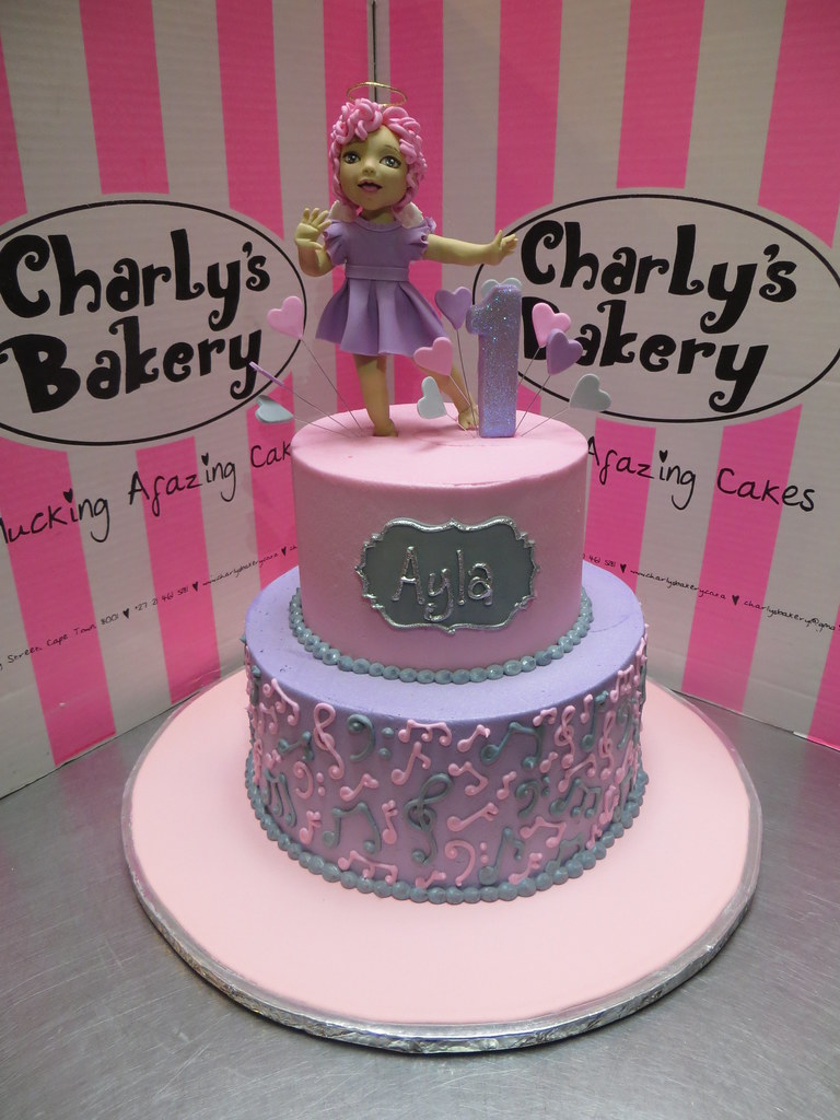 2 Tier 1st Birthday Cake With 3d Personalised Dancing Ange Flickr