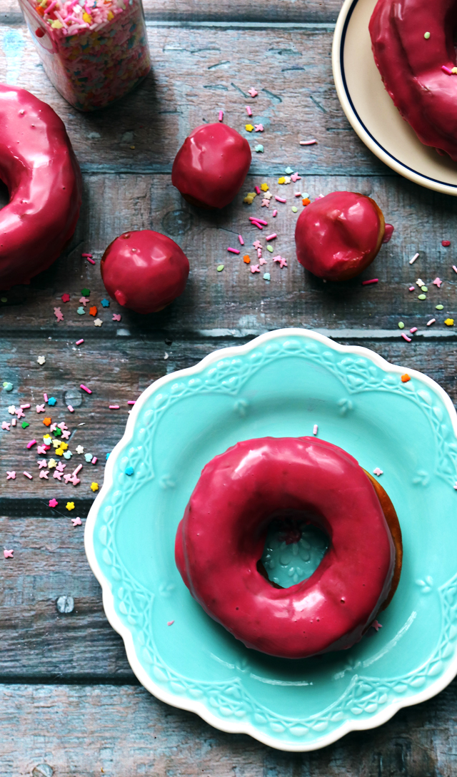 Homemade Yeast Donuts with Hibiscus Glaze