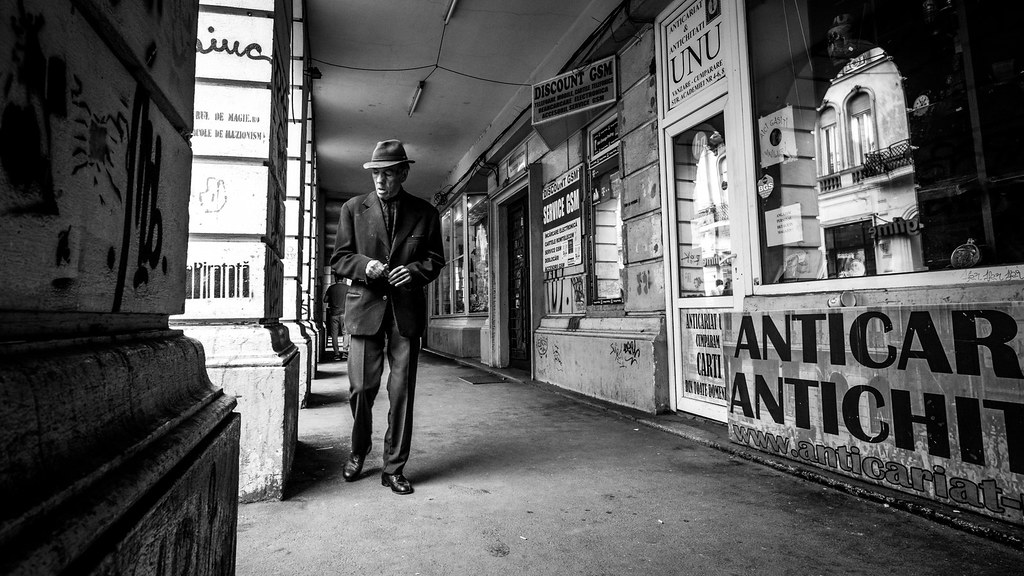 The classic guy bucharest romania black and white street photography by giuseppe
