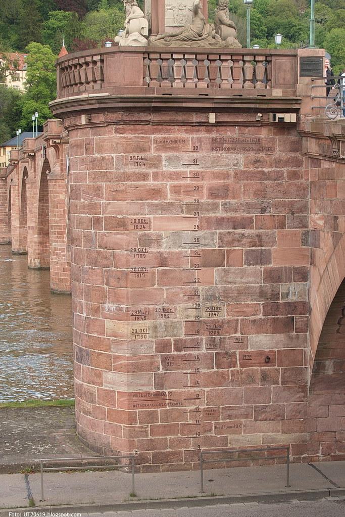 Hochwassermarken an der Alten Brücke