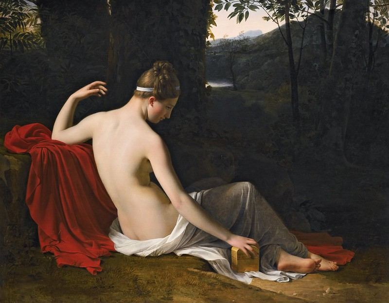 Louis Hersent - Pandora reclining in a wooded landscape