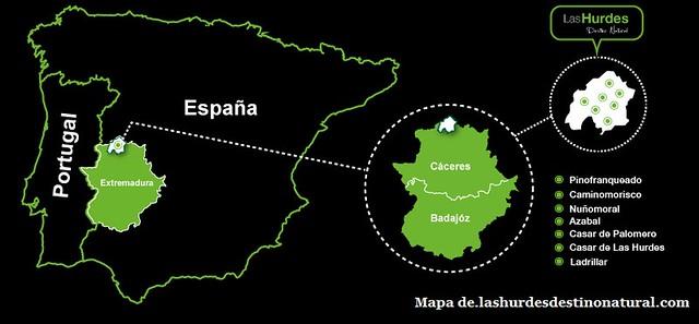 Mapa de situación de Las Hurdes