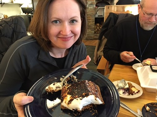 Eating a Homemade S'mores at Lake Hope Lodge. From 7 Family-Friendly Food Spots in and Around Hocking Hills, Ohio
