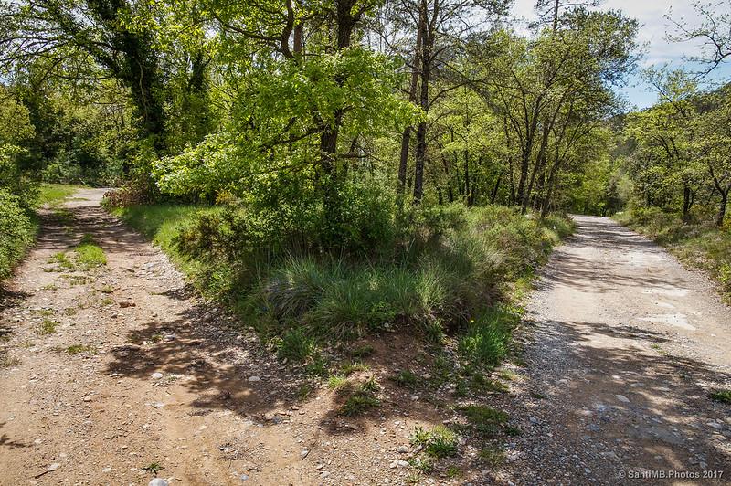 Bifurcación del camino cerca de la Gola de Les Heures
