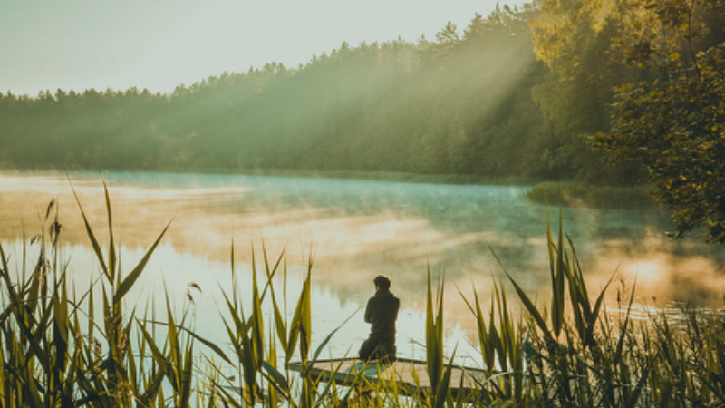Man sitting by a misty lake