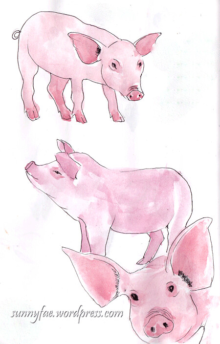 Sketch of pink pigs 1