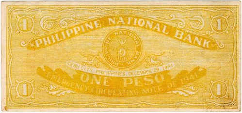 1941 One Peso Philippine National Bank Emergency Circulating Note back