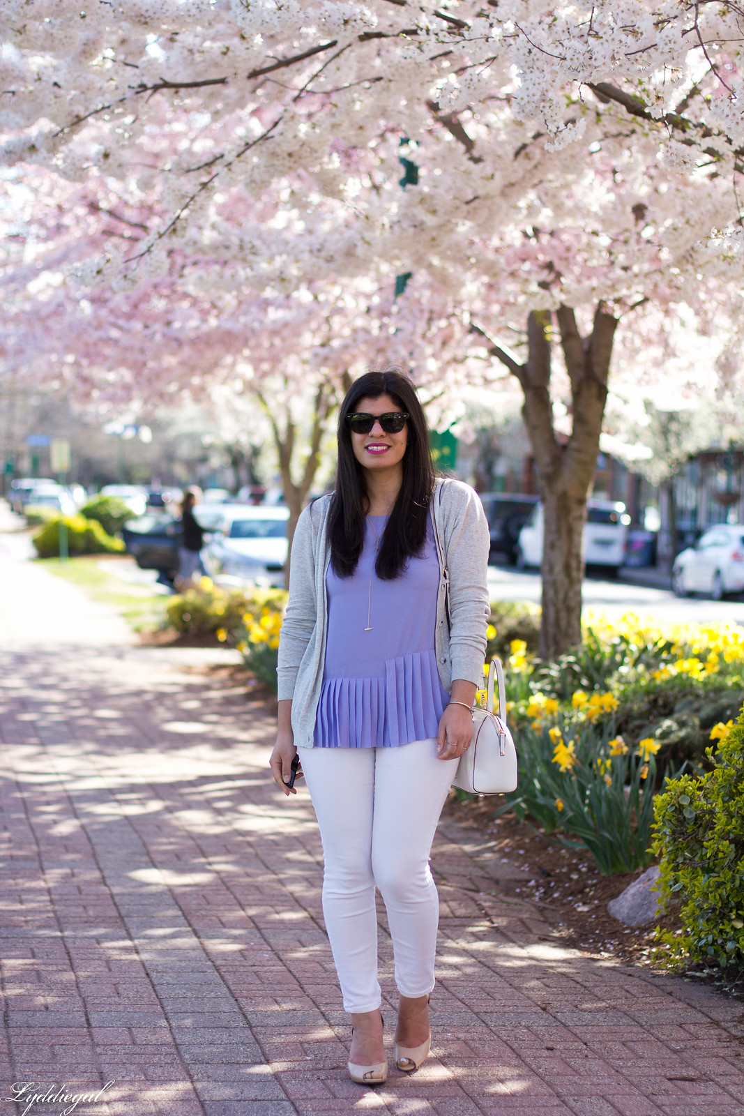 purple pleated top, white jeans, grey cardigan, spring outfit-2.jpg
