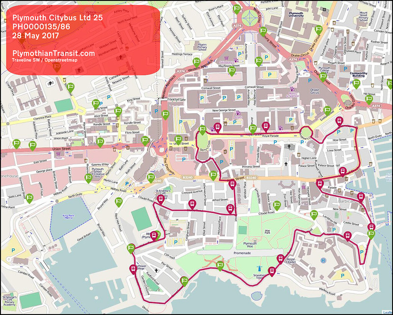 2017 05 28 PLYMOUTH CITYBUS LTD ROUTE-025map