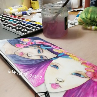 Glimpse of my #artstudio #worktable #artjournal entry with #watercolour  #watercolour #girls #girl | by ewian
