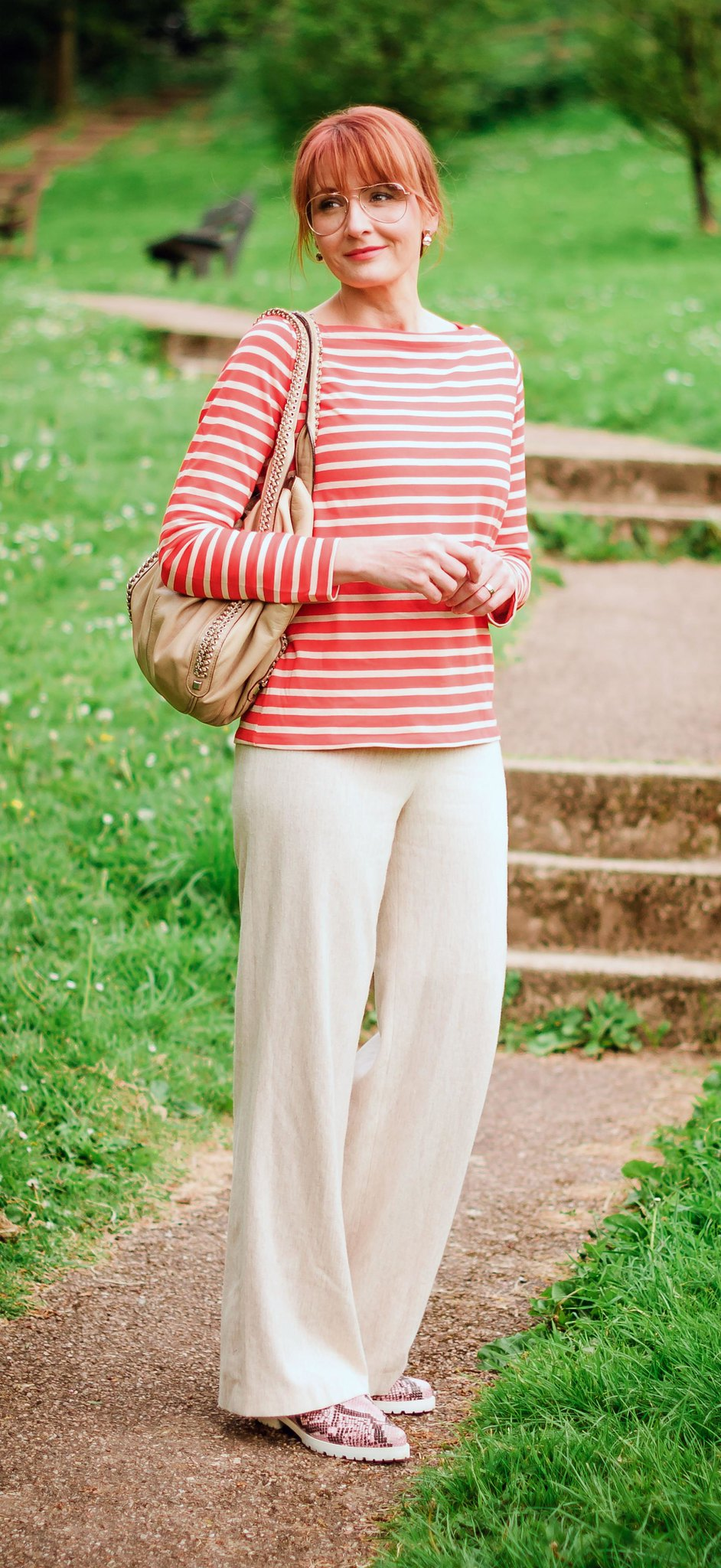 Loose, comfy summer style: Orange Breton stripe top \ wide leg cream trousers \ pink snakeskin shoes \ rose gold aviators   Not Dressed As Lamb, over 40 style